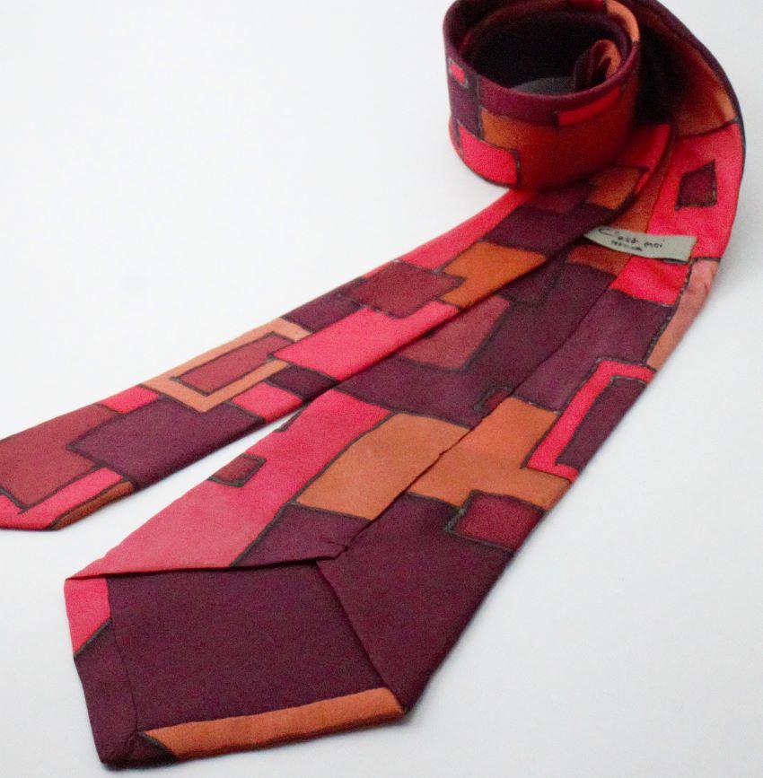 piros kézzel festett selyem férfi nyakkendő
