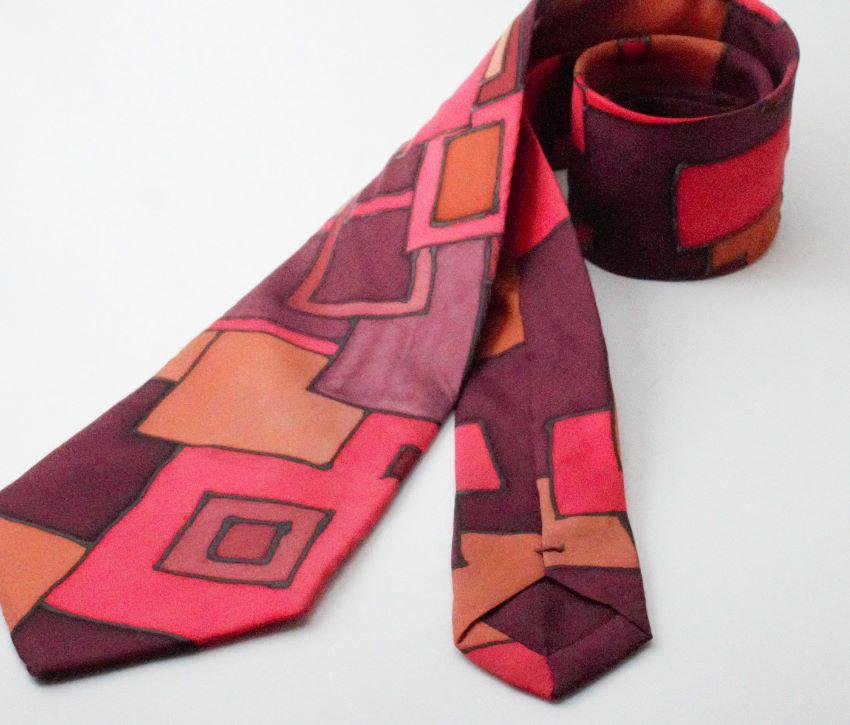 Selyem nyakkendő kézzel festett piros