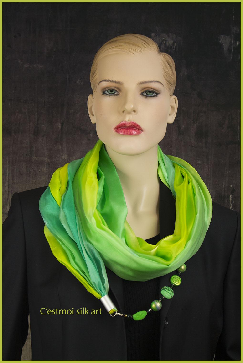 selyem kőrsál ékszerrel tavaszi pasztell zöld 01