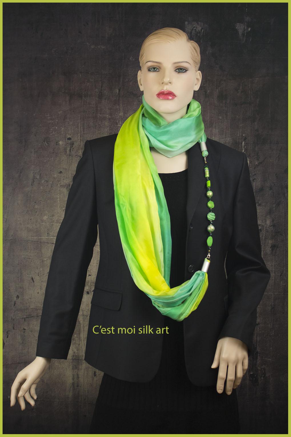 selyem kőrsál ékszerrel tavaszi pasztell zöld 03