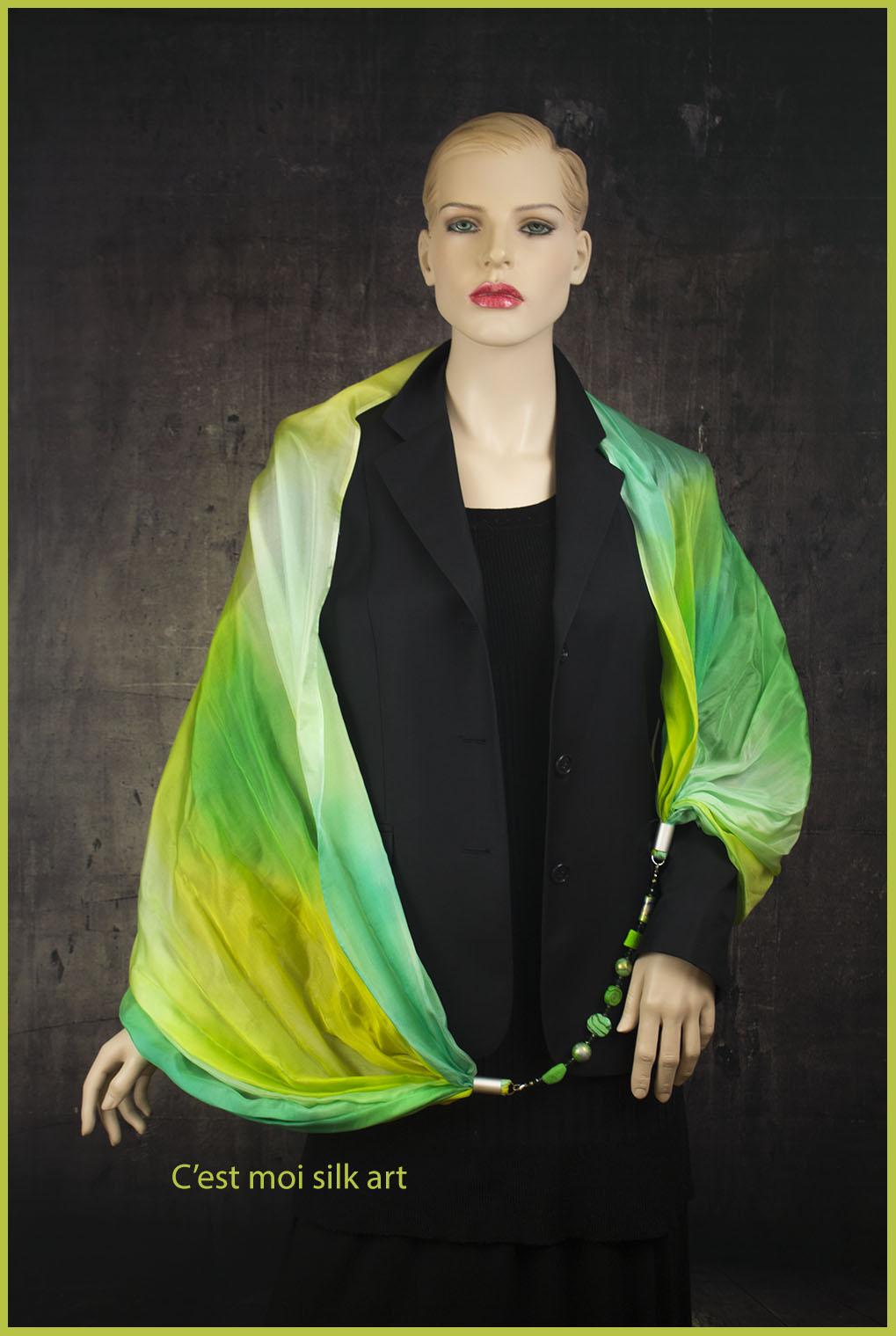 selyem kőrsál ékszerrel tavaszi pasztell zöld 05