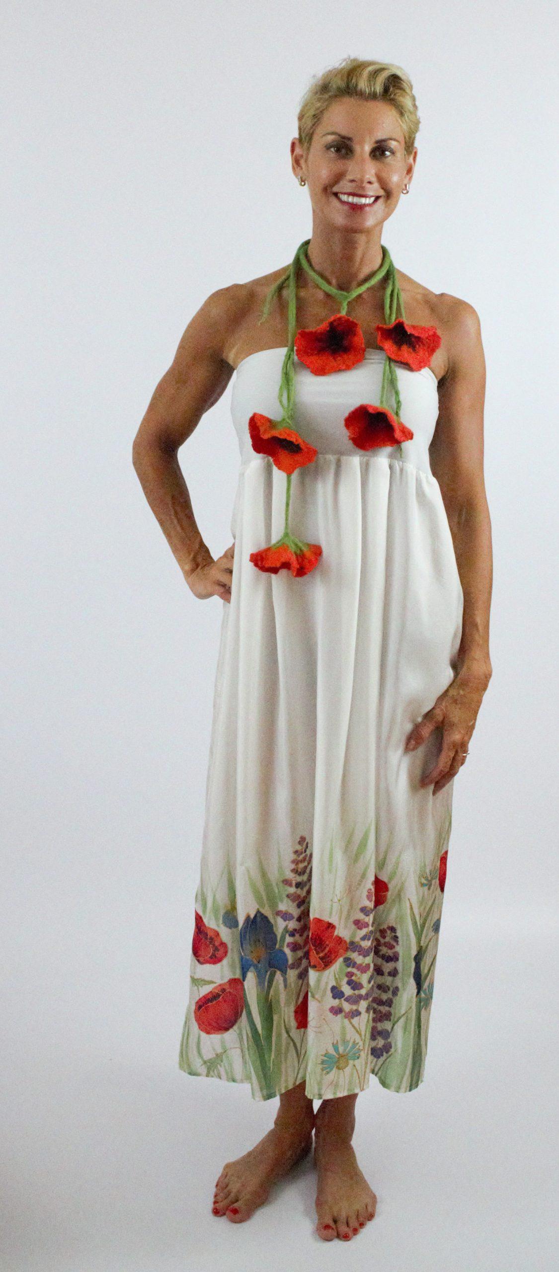 nemezelt pipacsos virágos nyaklánc