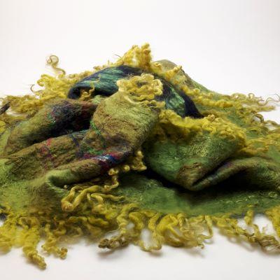 zöld nuno nemez selyem sál