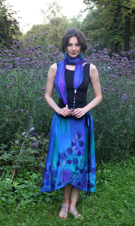 blue silk skirt