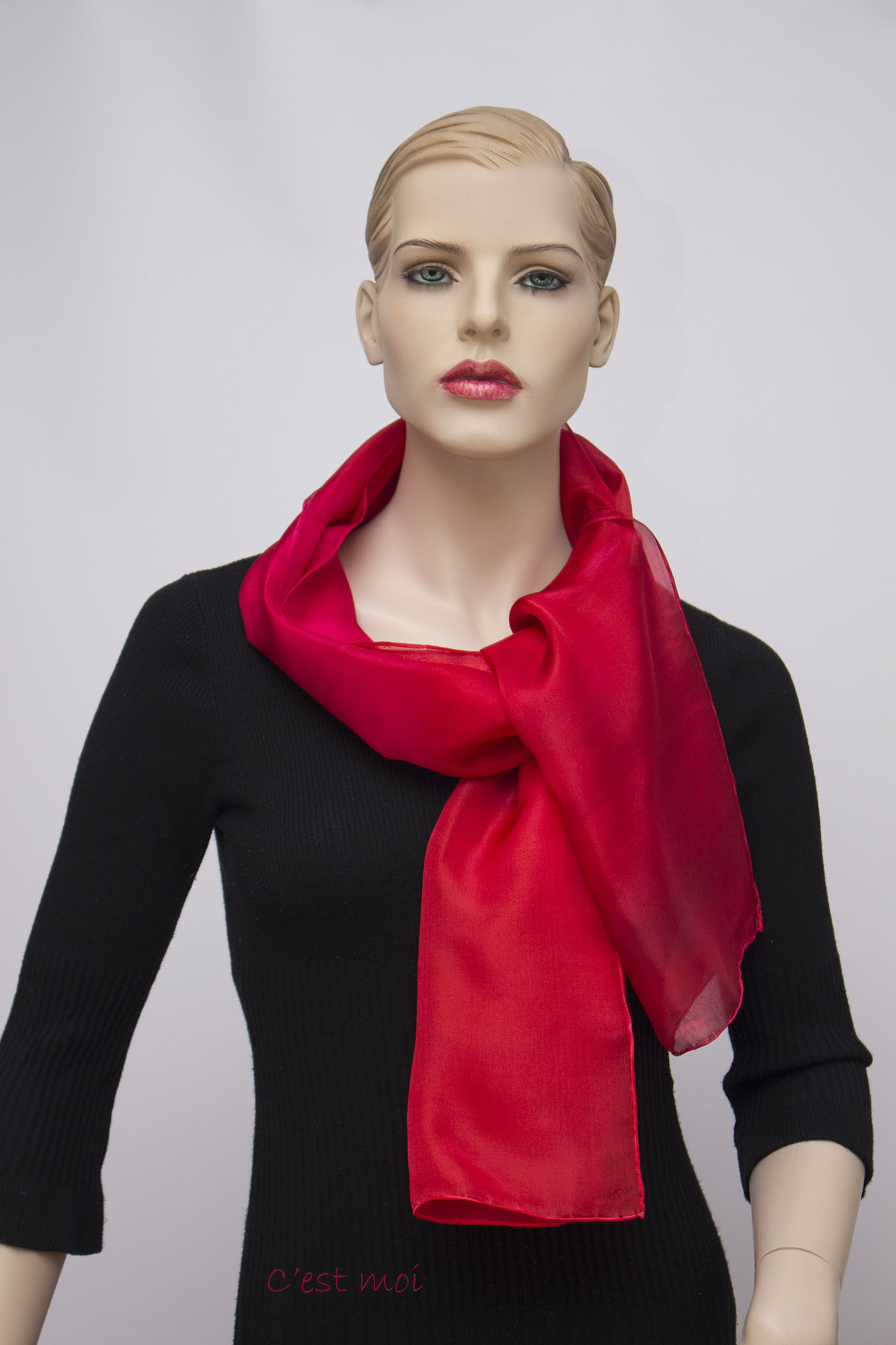 ferrari piros színátmenetes selyem sál 01