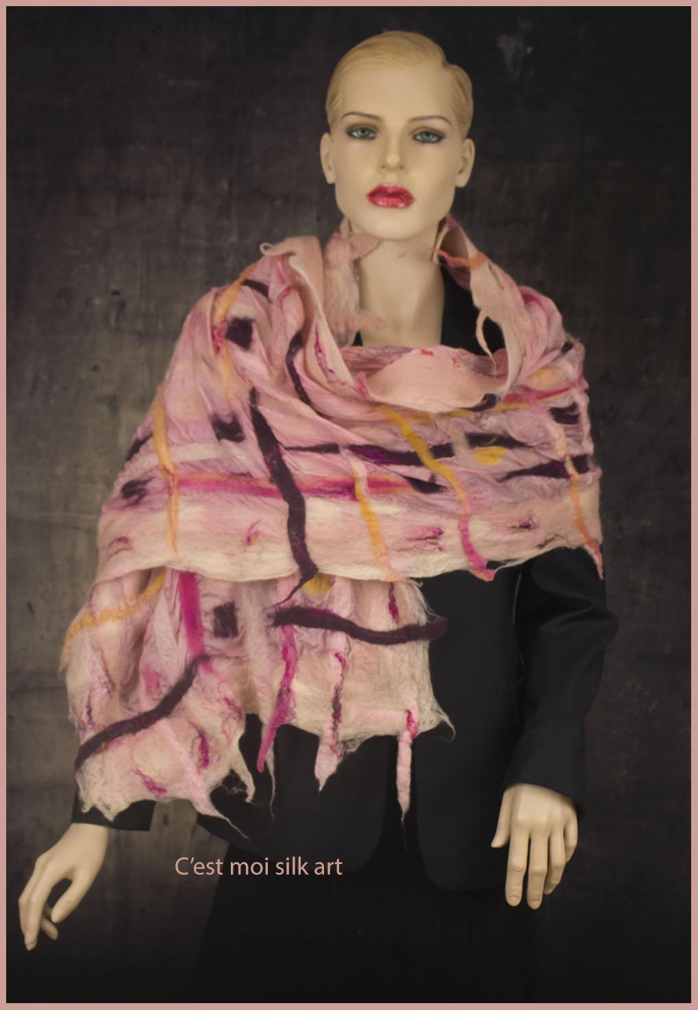nemezelt selyem sál rózsaszín rácsos 02 másolata