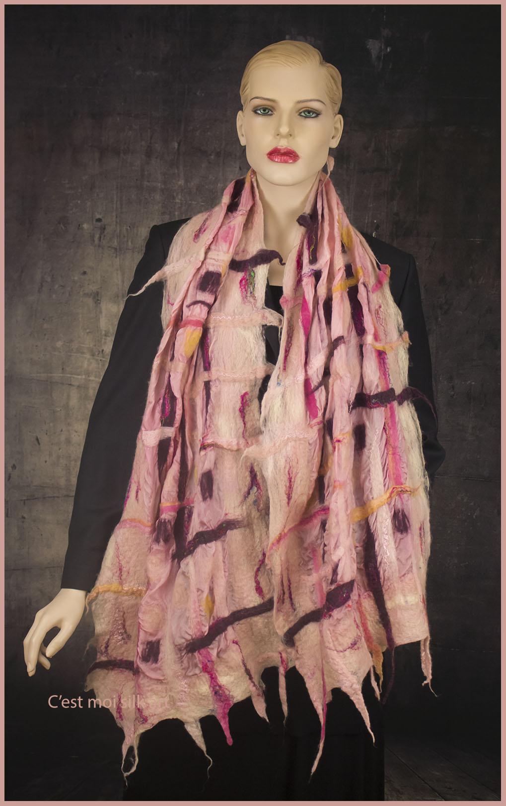 nemezelt selyem sál rózsaszín rácsos 03 másolata