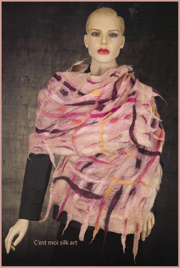 nemezelt selyem sál rózsaszín rácsos 04 másolata