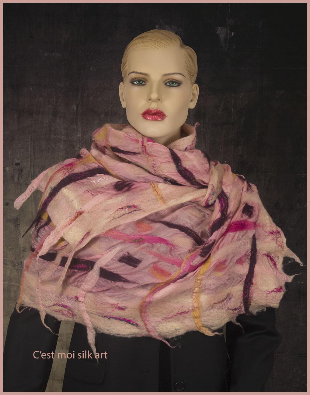 nemezelt selyem sál rózsaszín rácsos 05 másolata