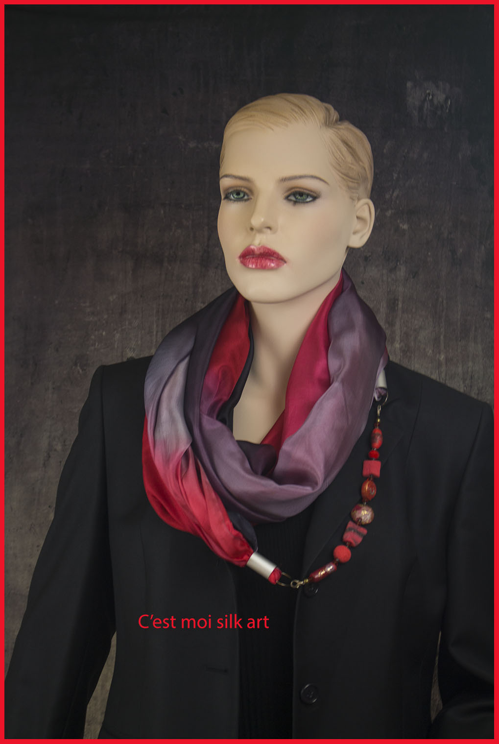 selyem sál ékszerrel fekete és piros 02