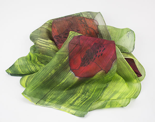 selyem sál pipacsos zöld 01