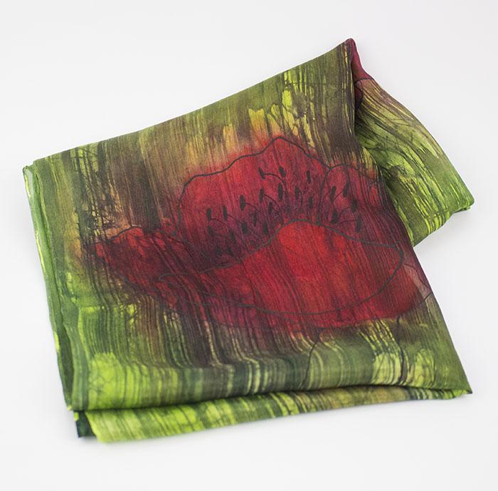 selyem sál pipacsos zöld 02