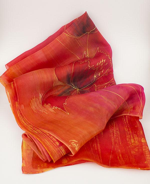 selyem sál piros tulipánokkal 04