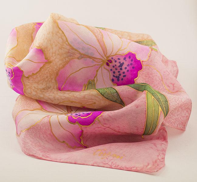 selyem sál rózsaszín orhídeák 01