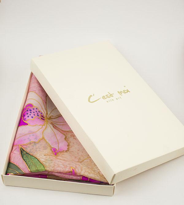 selyem sál rózsaszín orhídeák díszdobozban 02