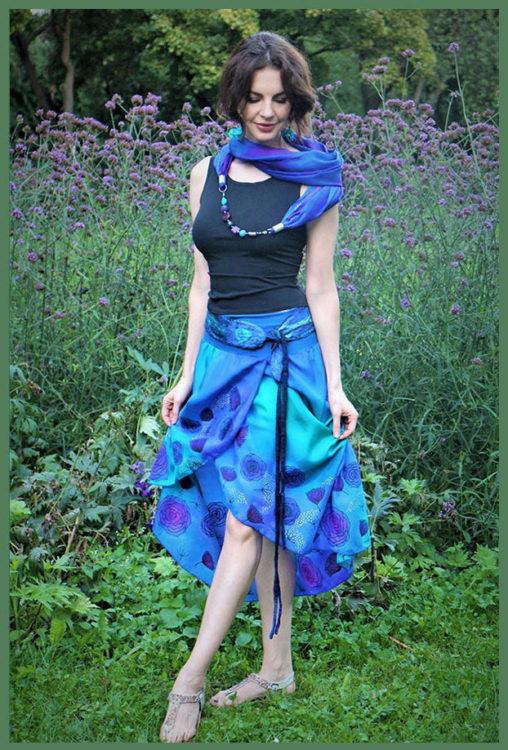 selyem szoknya kézzel festett lila kék 01