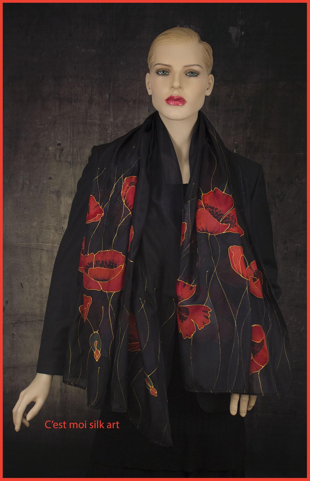 selyem sál fekete piros pipacsokkal 01