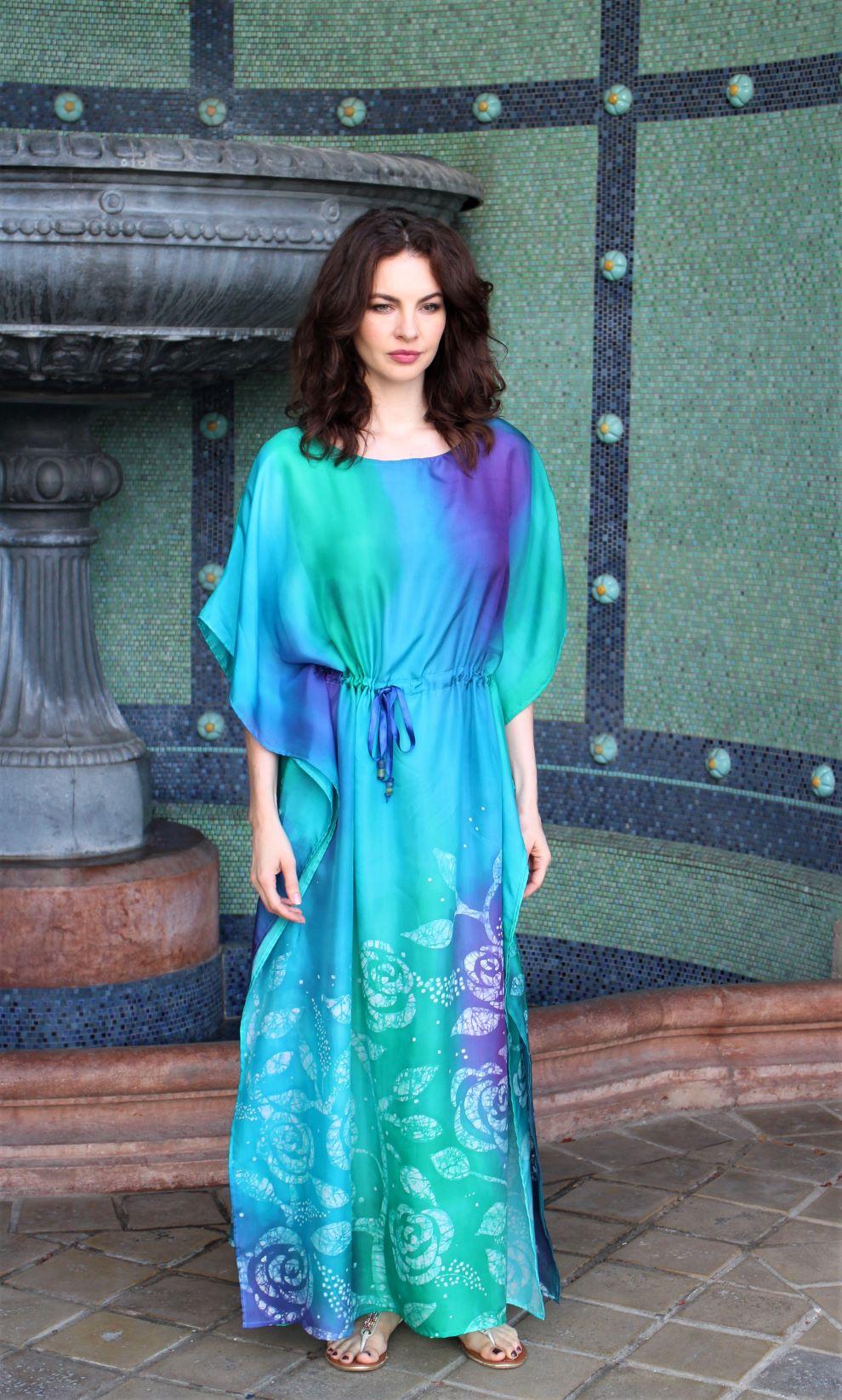 kézzel festett valódi selyem ruha