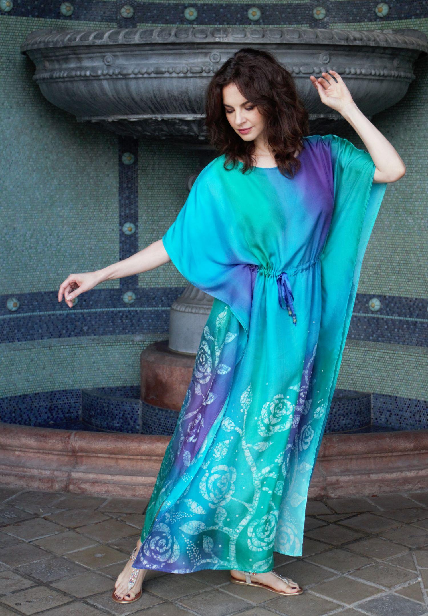 türkiz selyem ruha kézzel festett