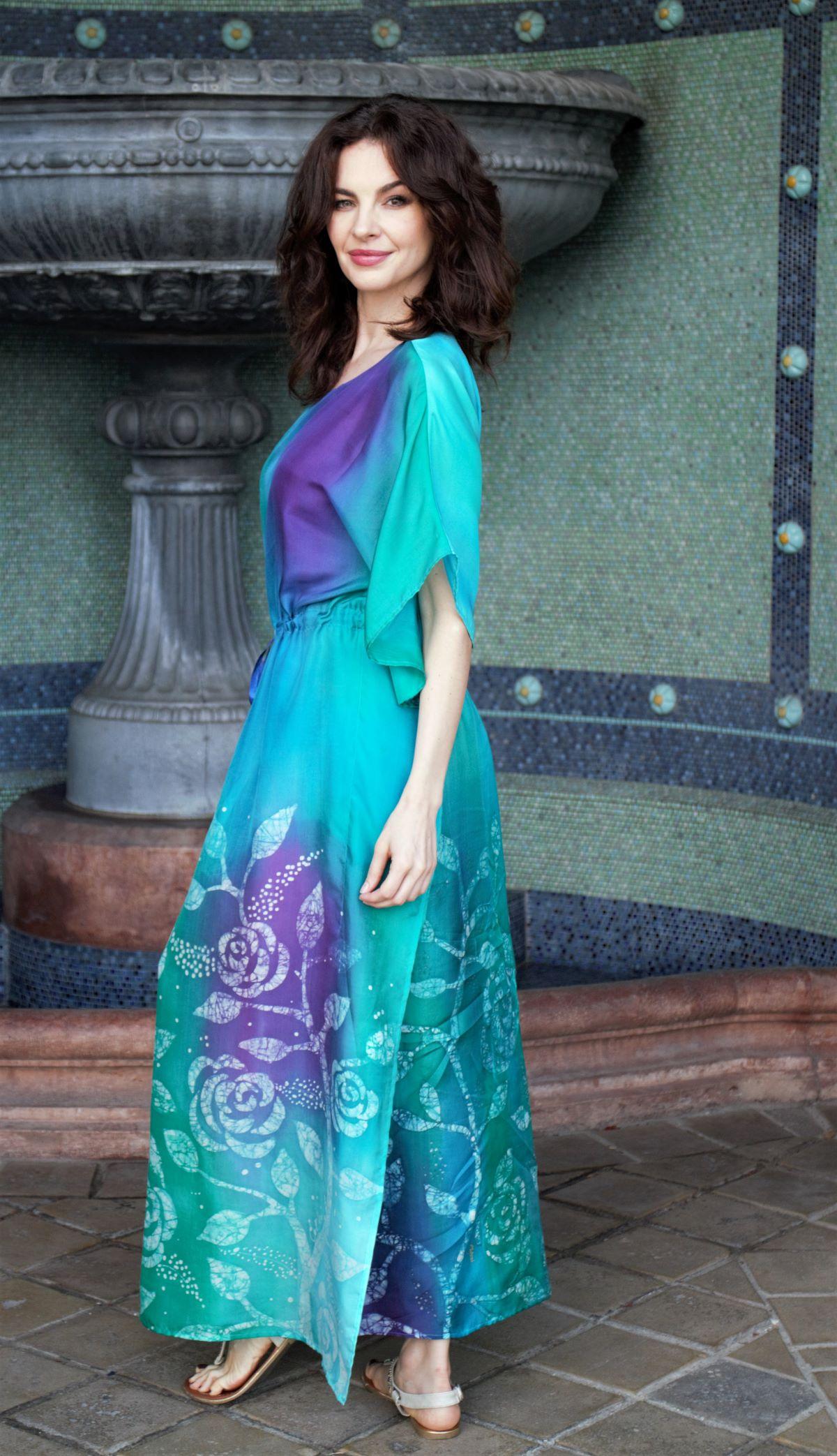 designer hernyóselyem ruha kézzel festett