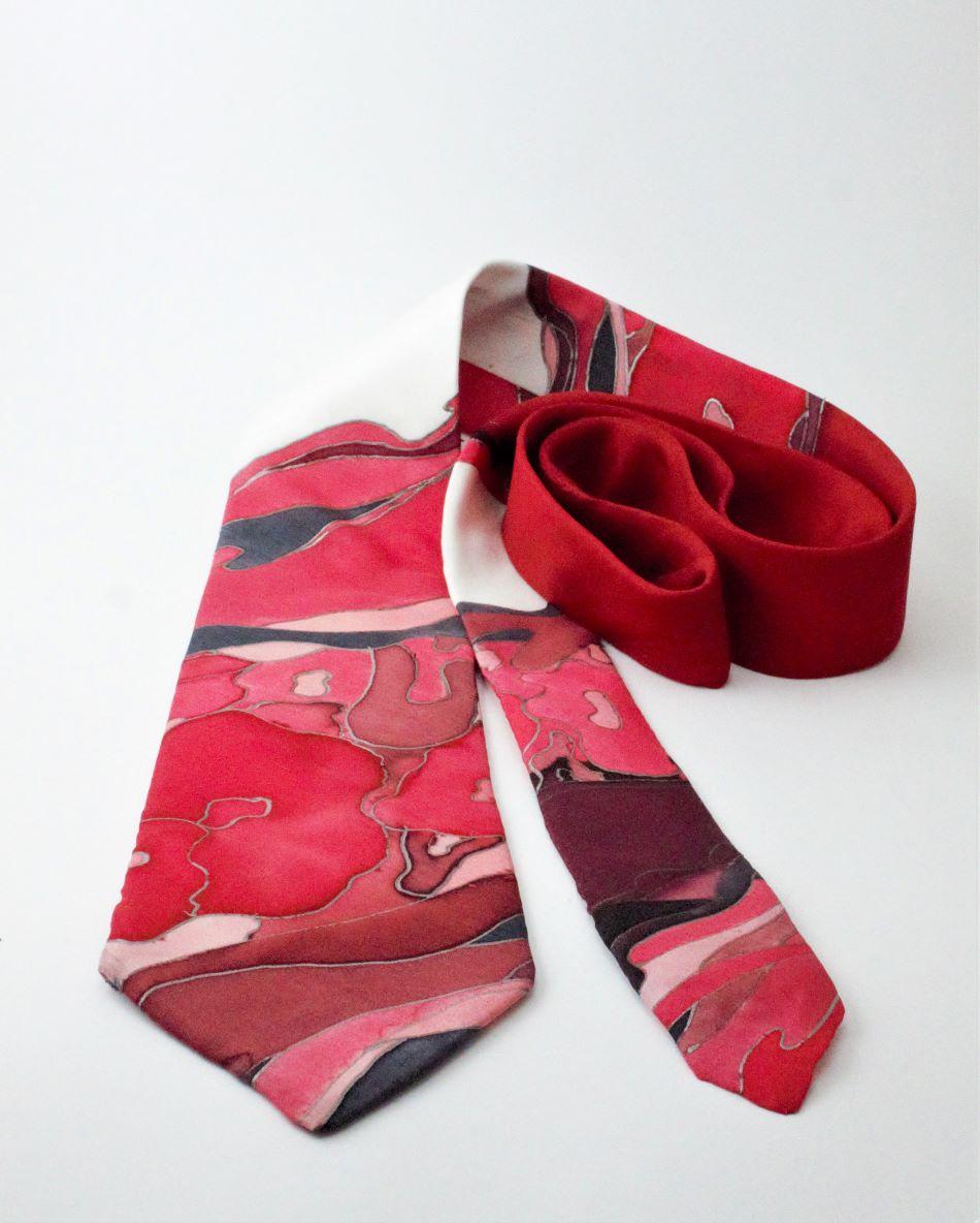 kézzel festett selyem nyakkendő