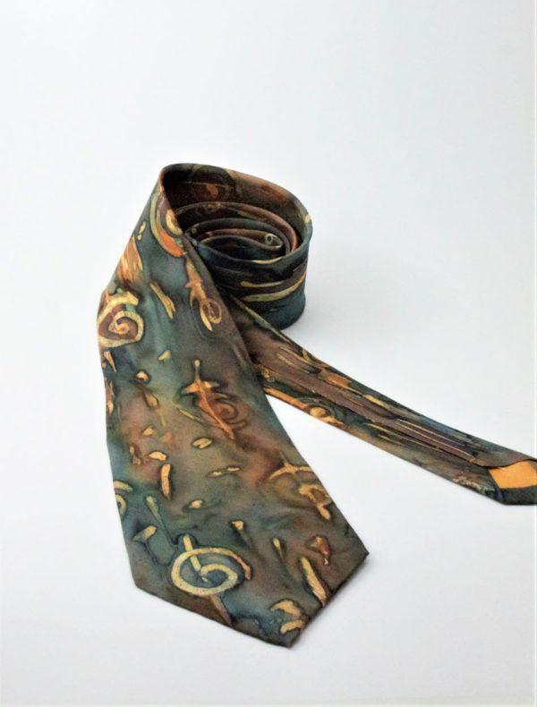 100% hernyóselyem nyakkendő kézzel festett