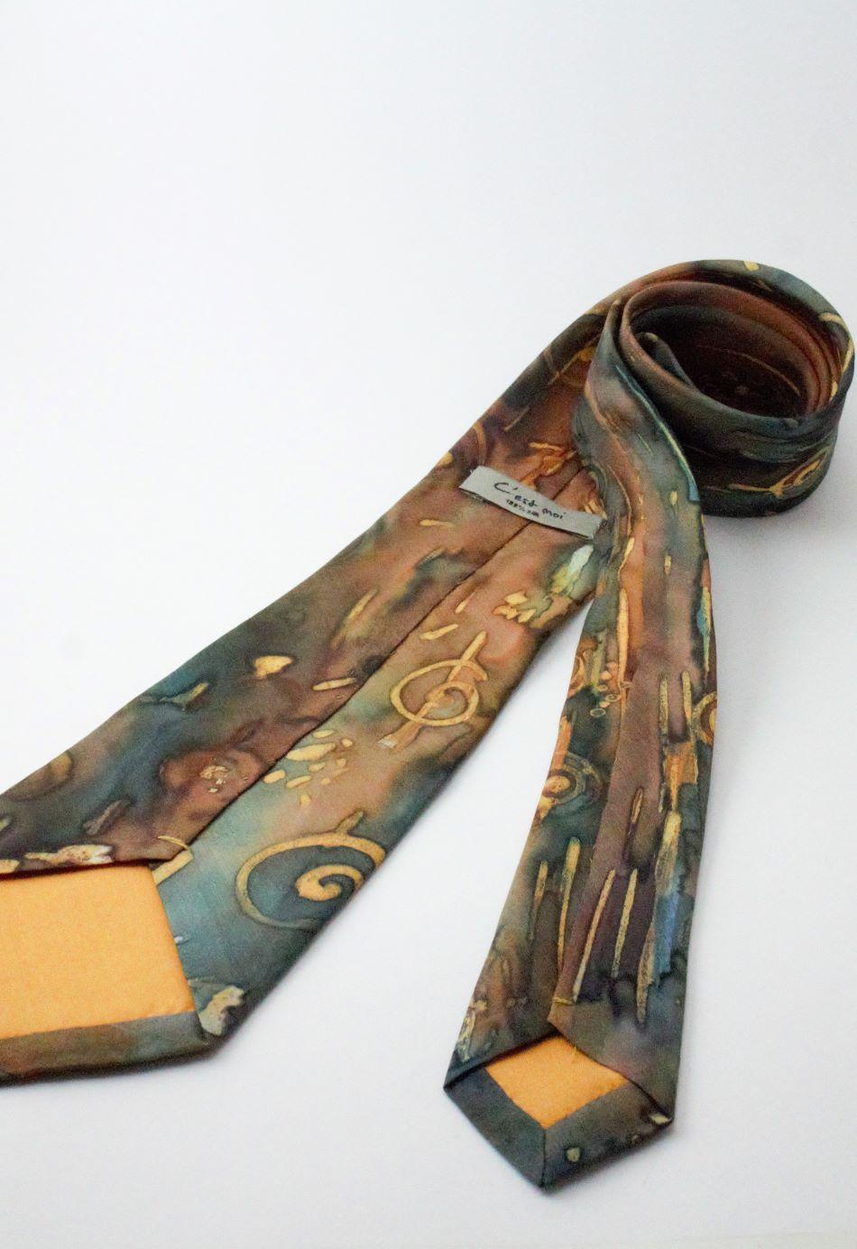 kézzel festett hernyóselyem nyakkendő