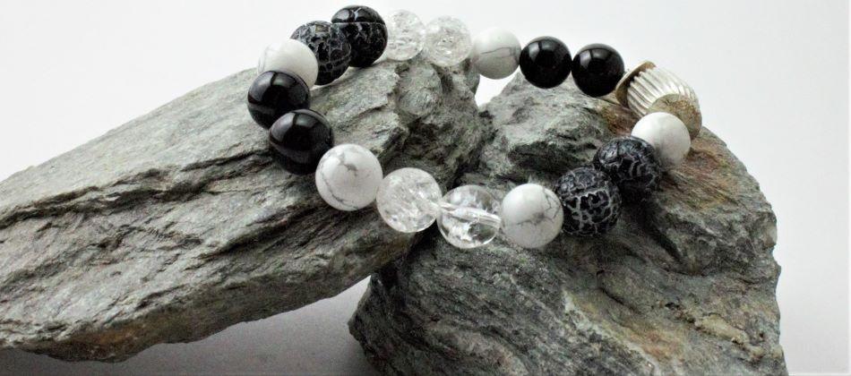 onix hegyikristály ásvány karkötő