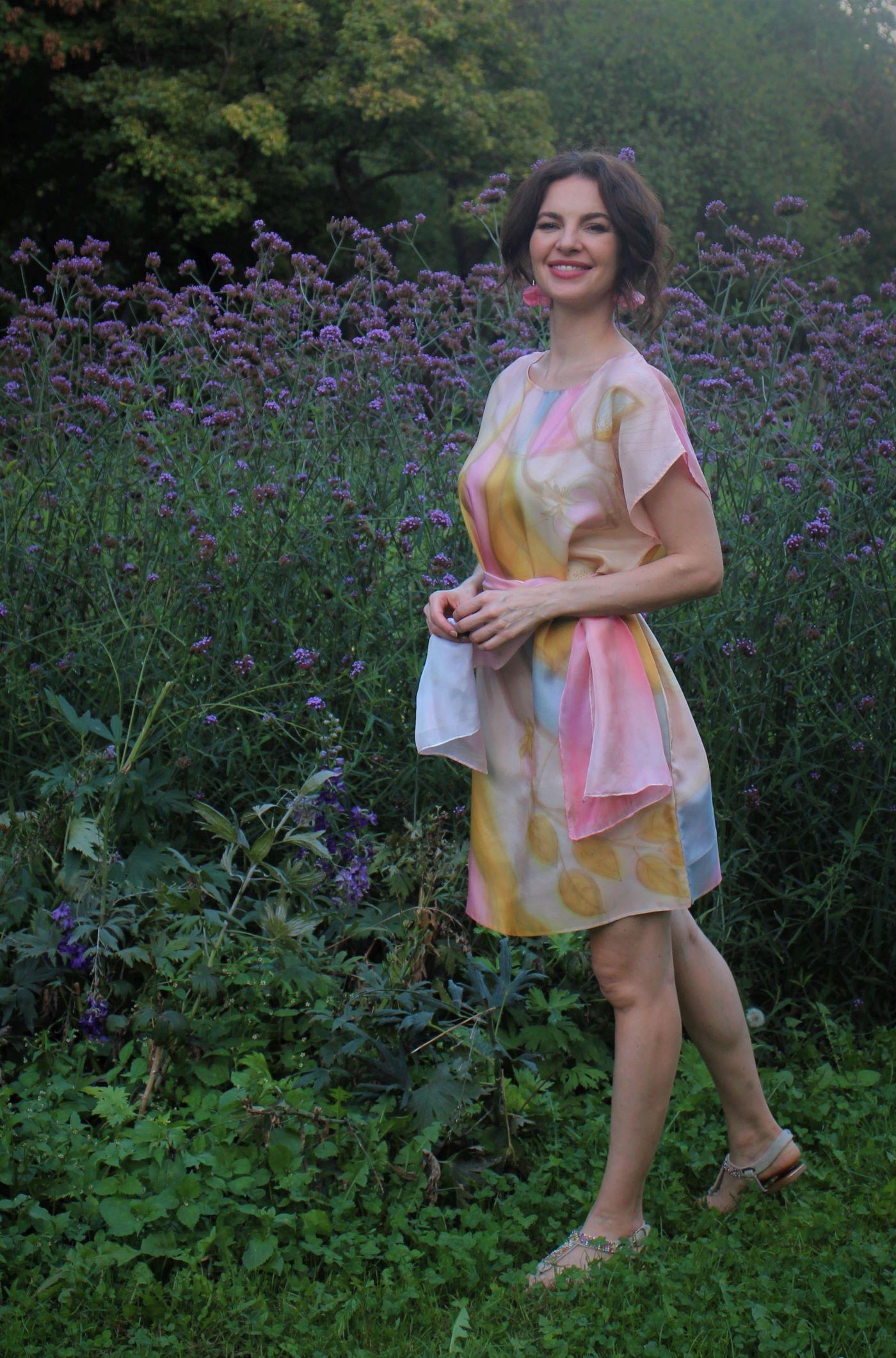100% hernyóselyem ruha pasztell rózsaszín