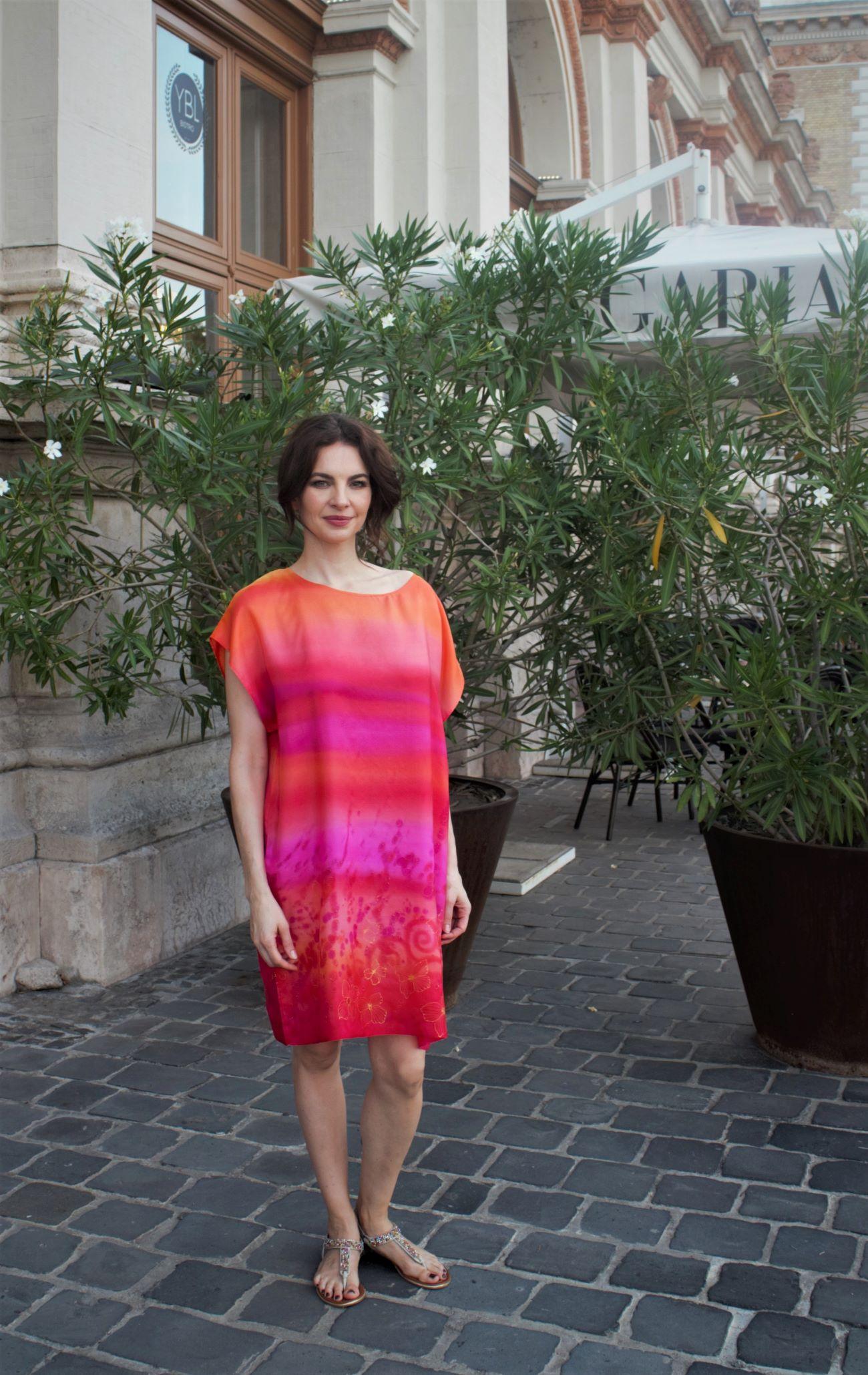 designer hernyóselyem ruha pink