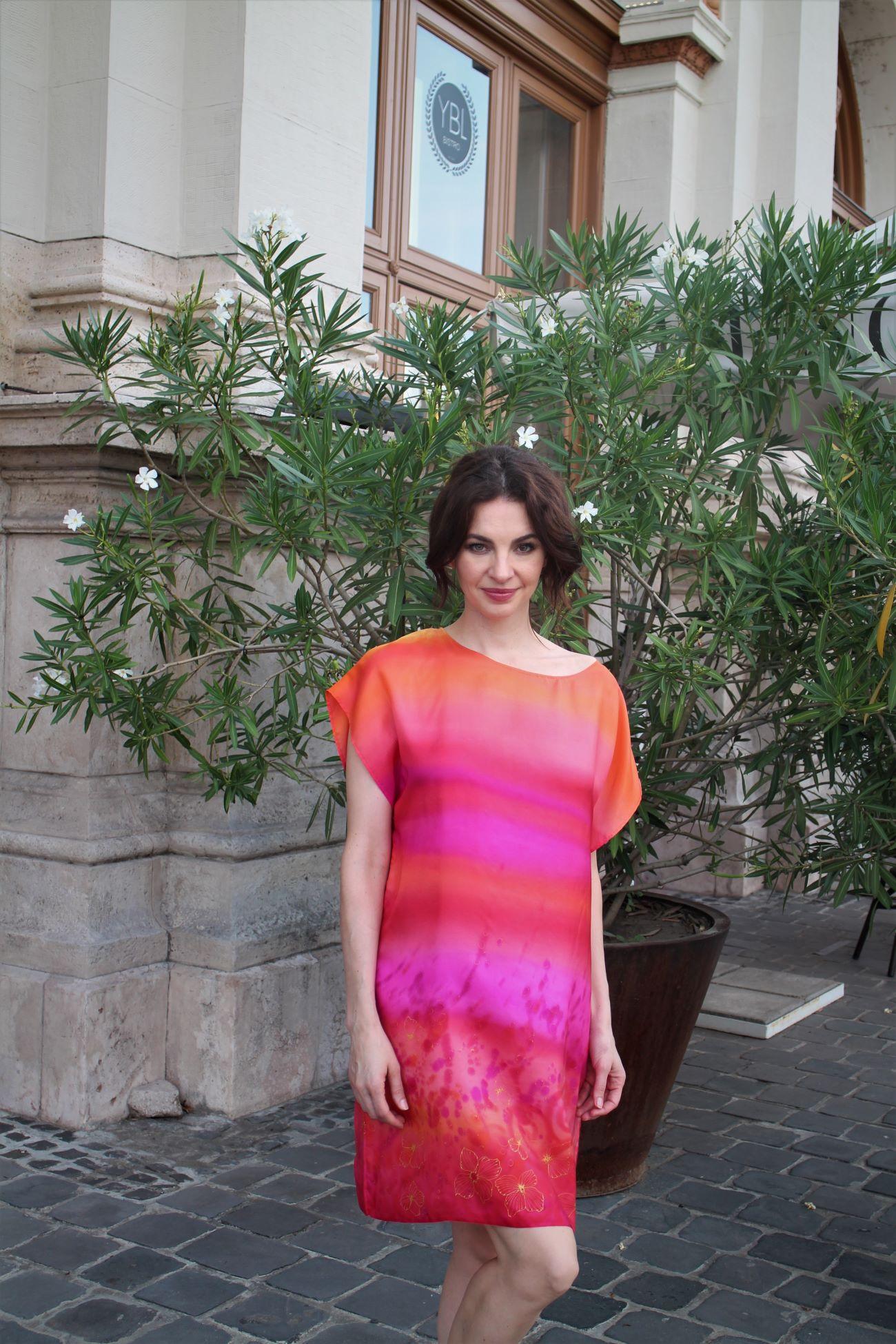 hernyóselyem ruha pink
