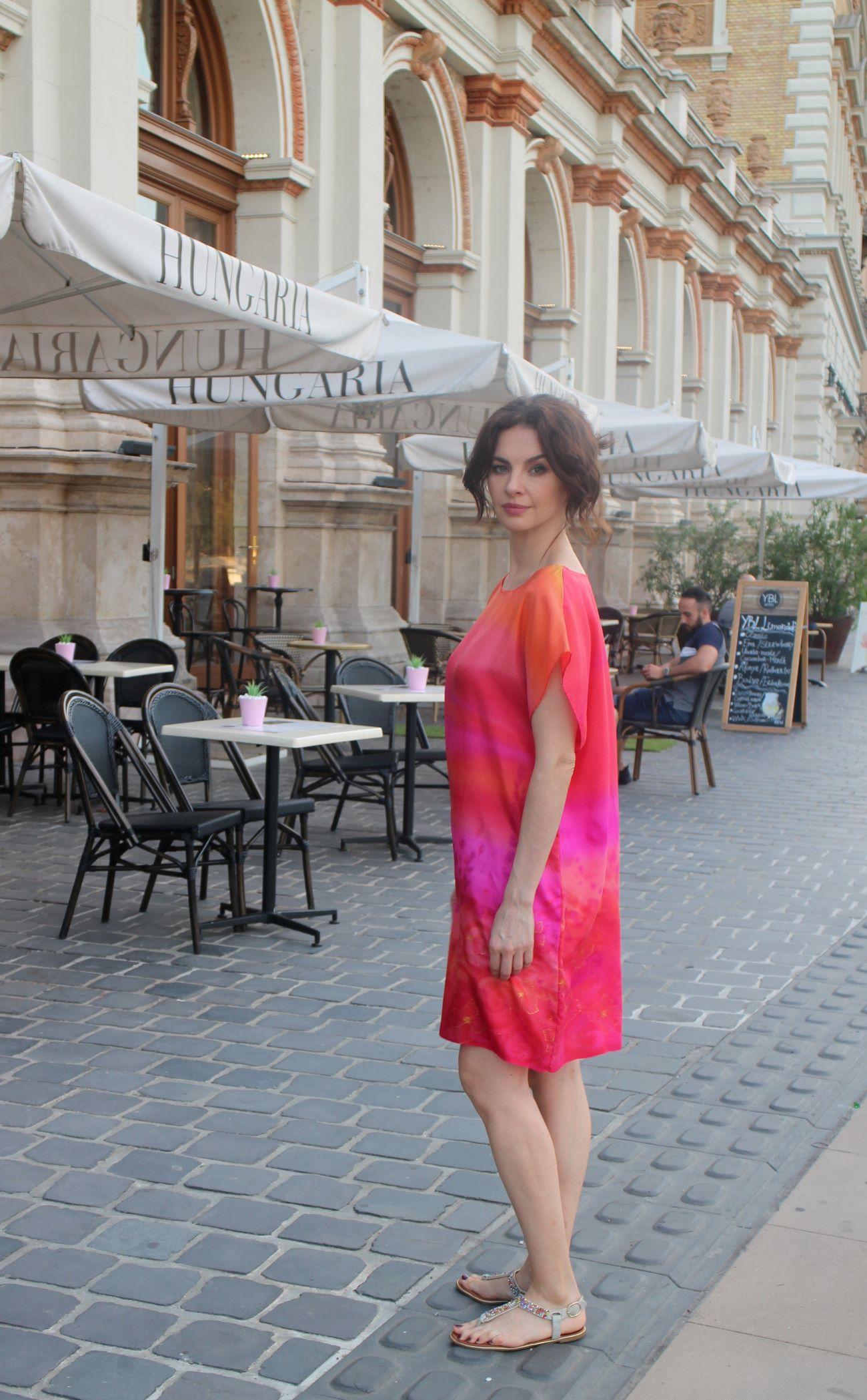 pink valódi selyem ruha