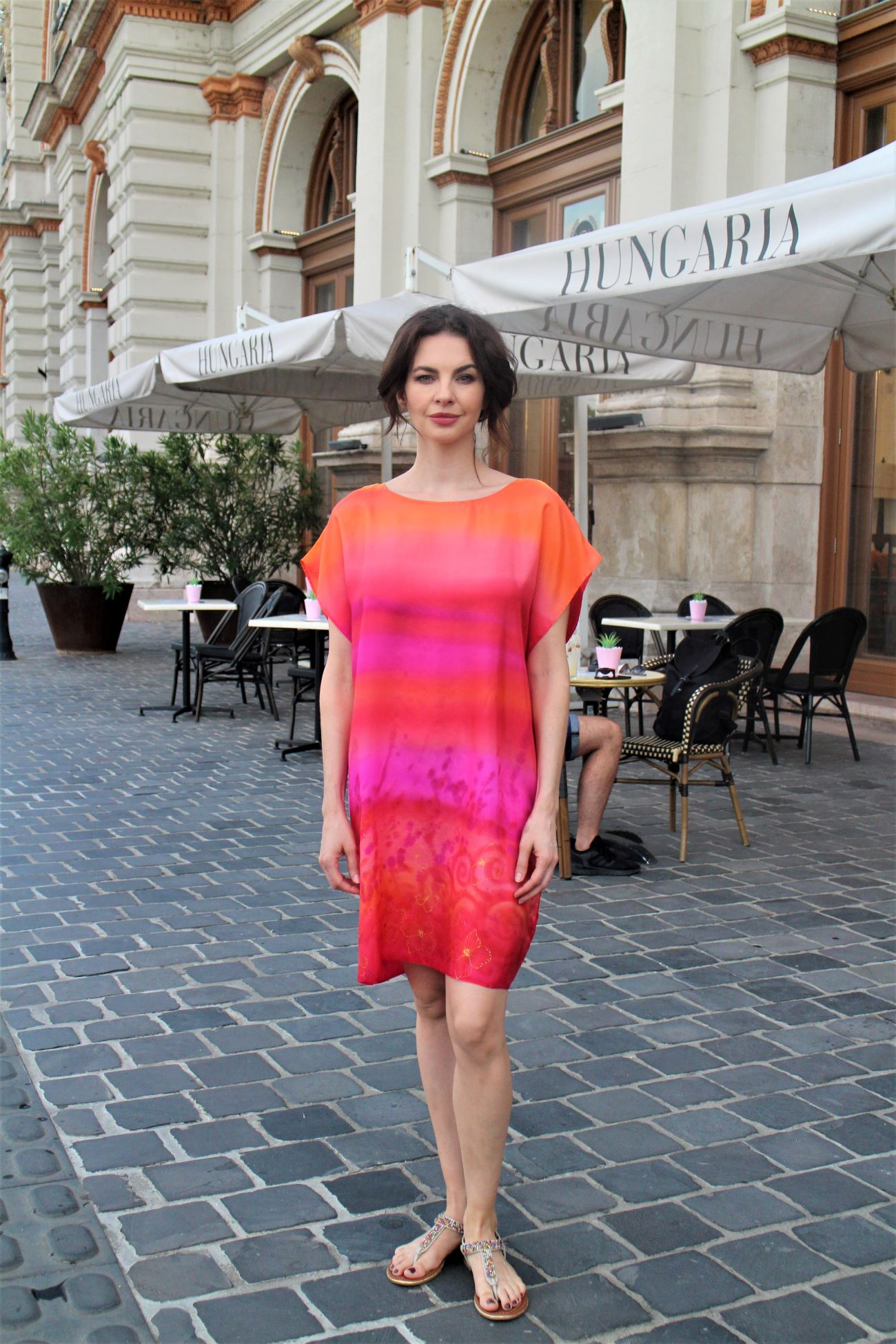 designer pink valódi selyem tunika ruha
