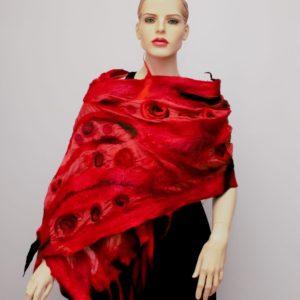 nemez selyem sál piros és fekete