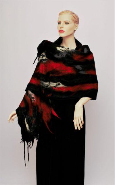 nuno nemez selyem sál piros és fekete