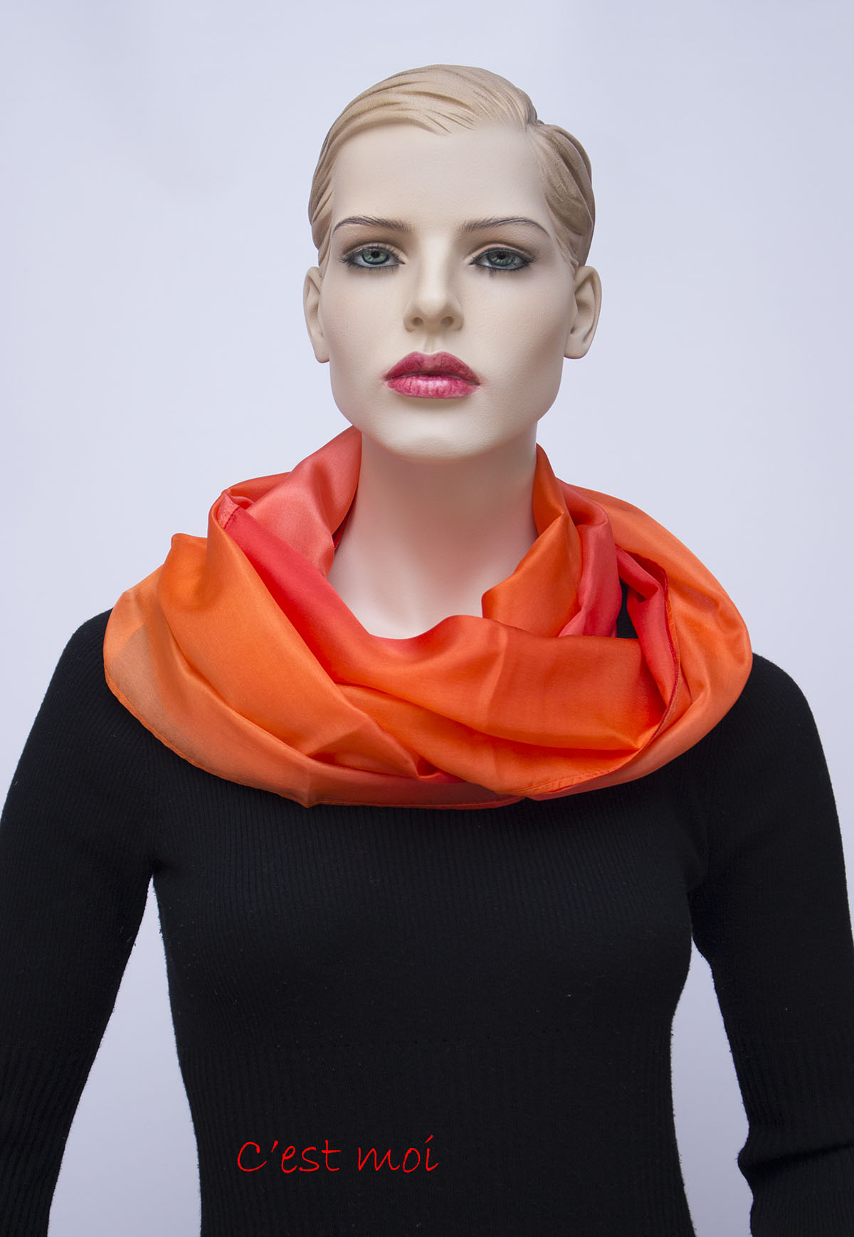 narancs sárga kézzel festett selyem kőrsál 01