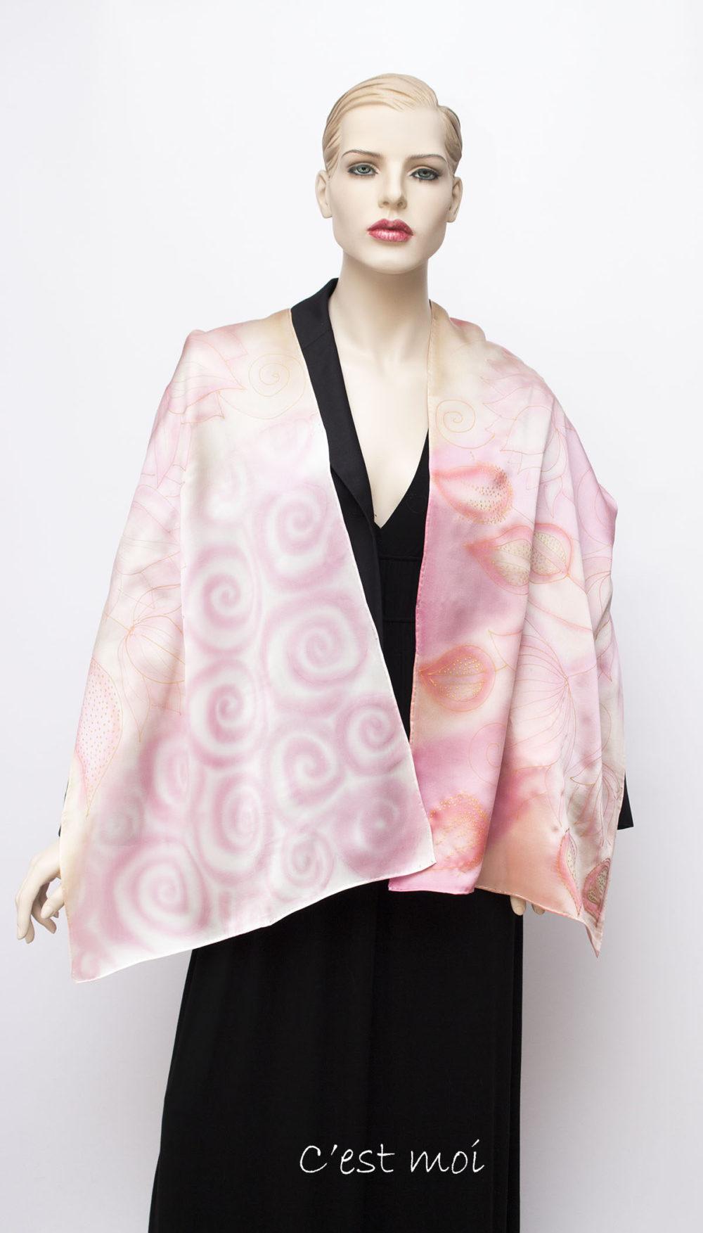 pasztell rózsaszín selyem szatén sál 01