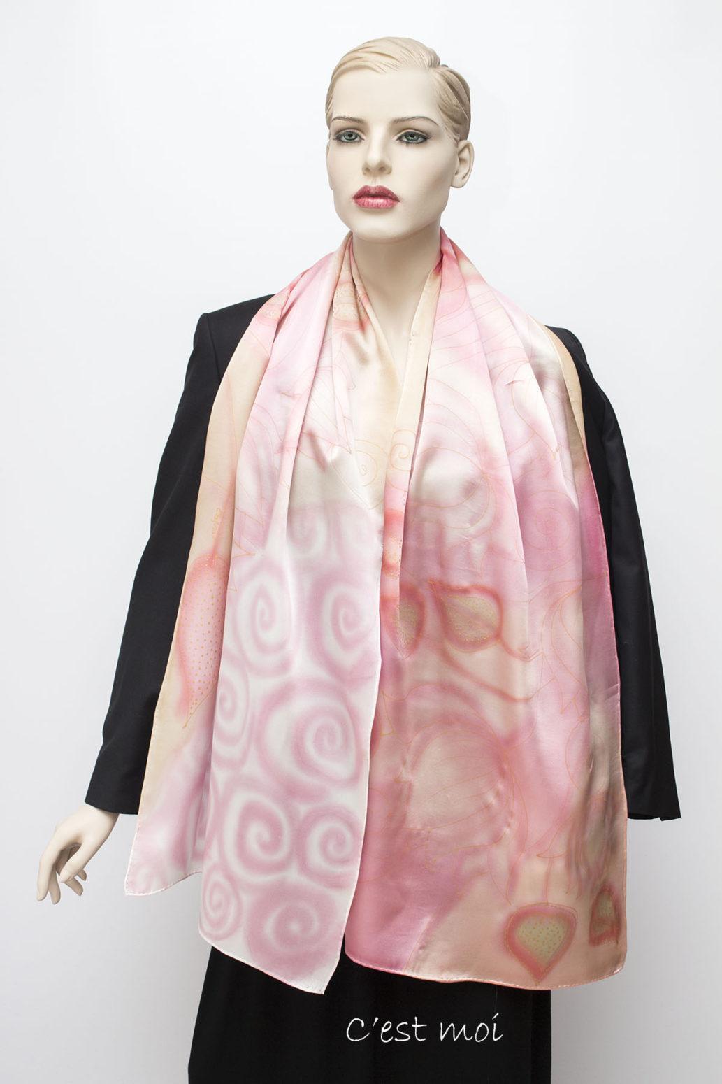 pasztell rózsaszín selyem szatén sál 02