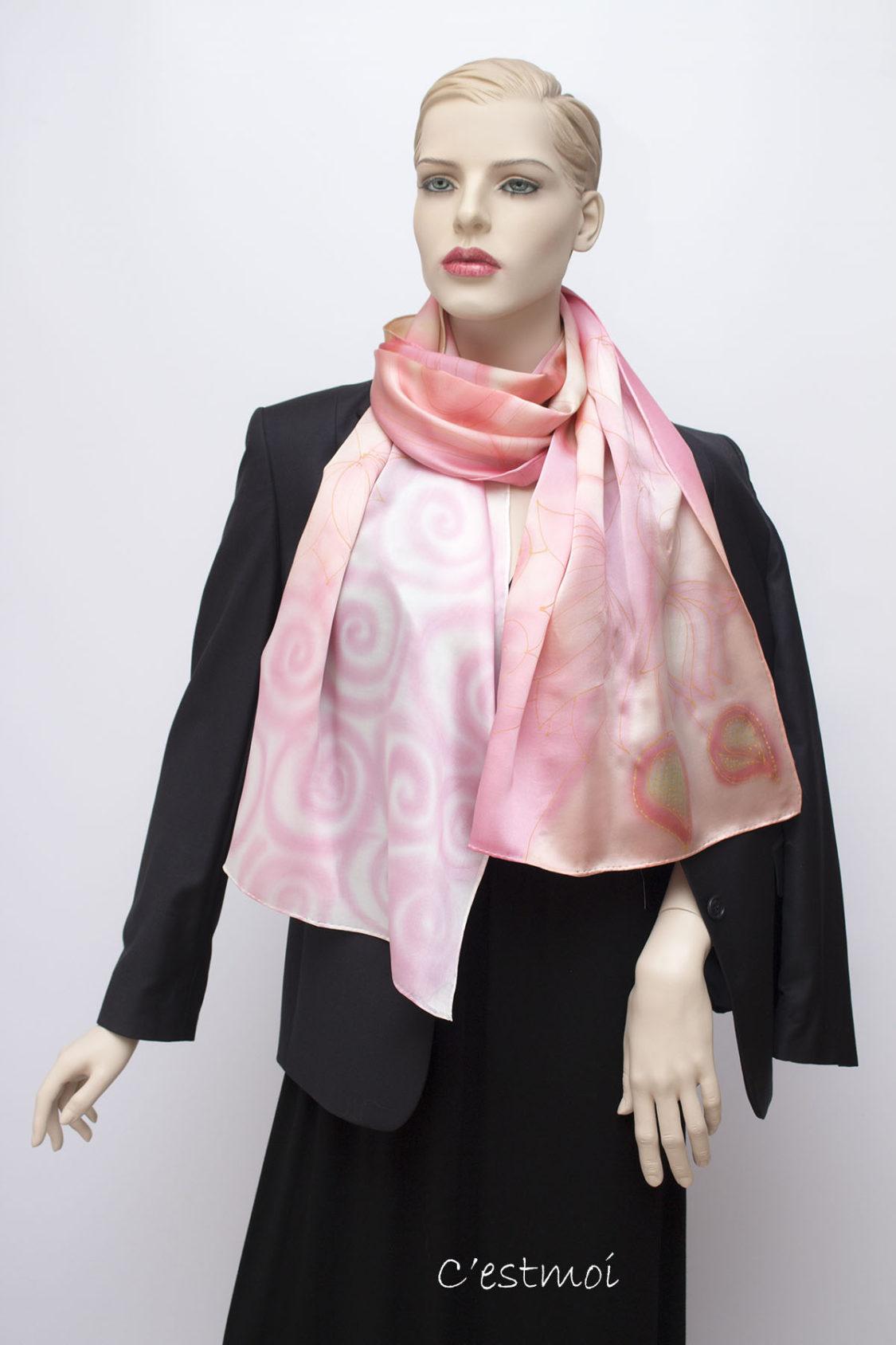 pasztell rózsaszín selyem szatén sál 04