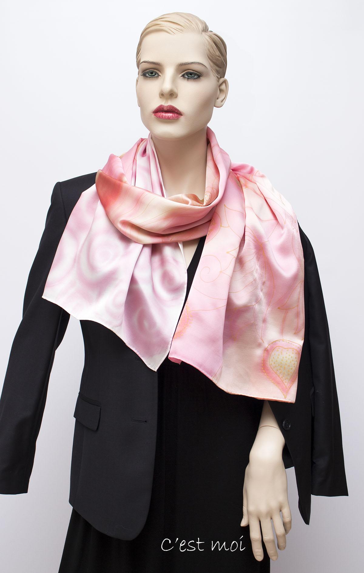 pasztell rózsaszín selyem szatén sál 05