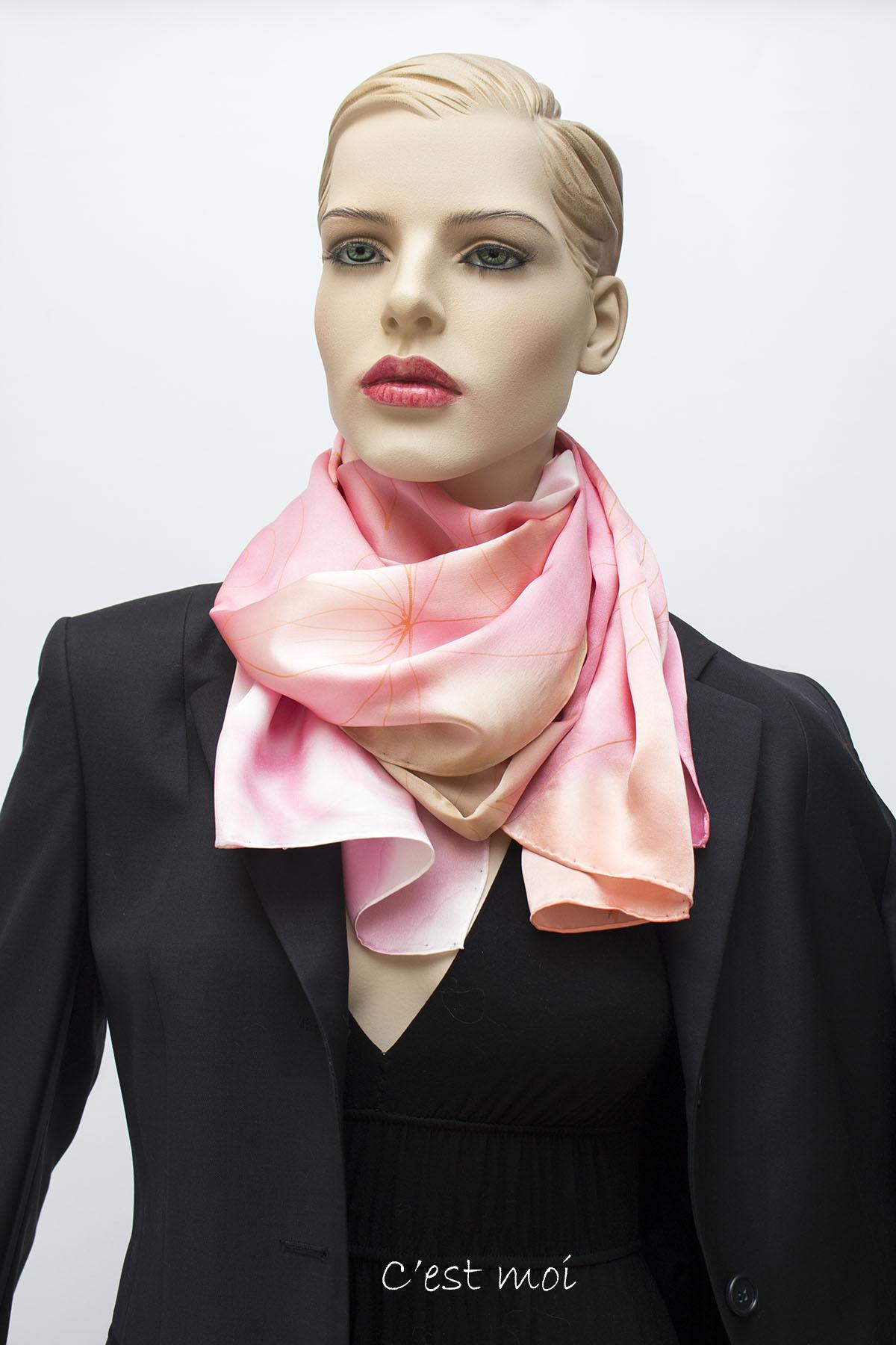 pasztell rózsaszín selyem szatén sál 06