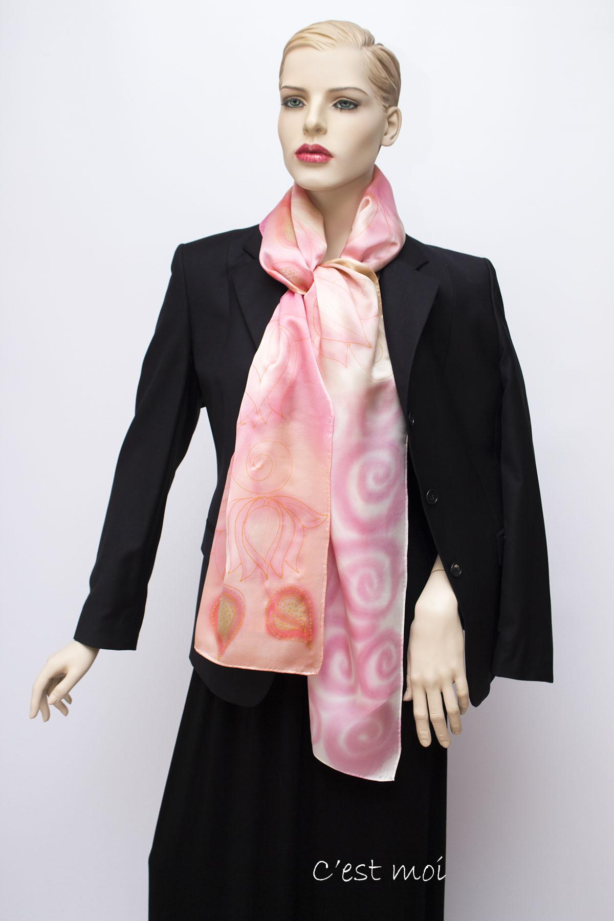 pasztell rózsaszín selyem szatén sál 07