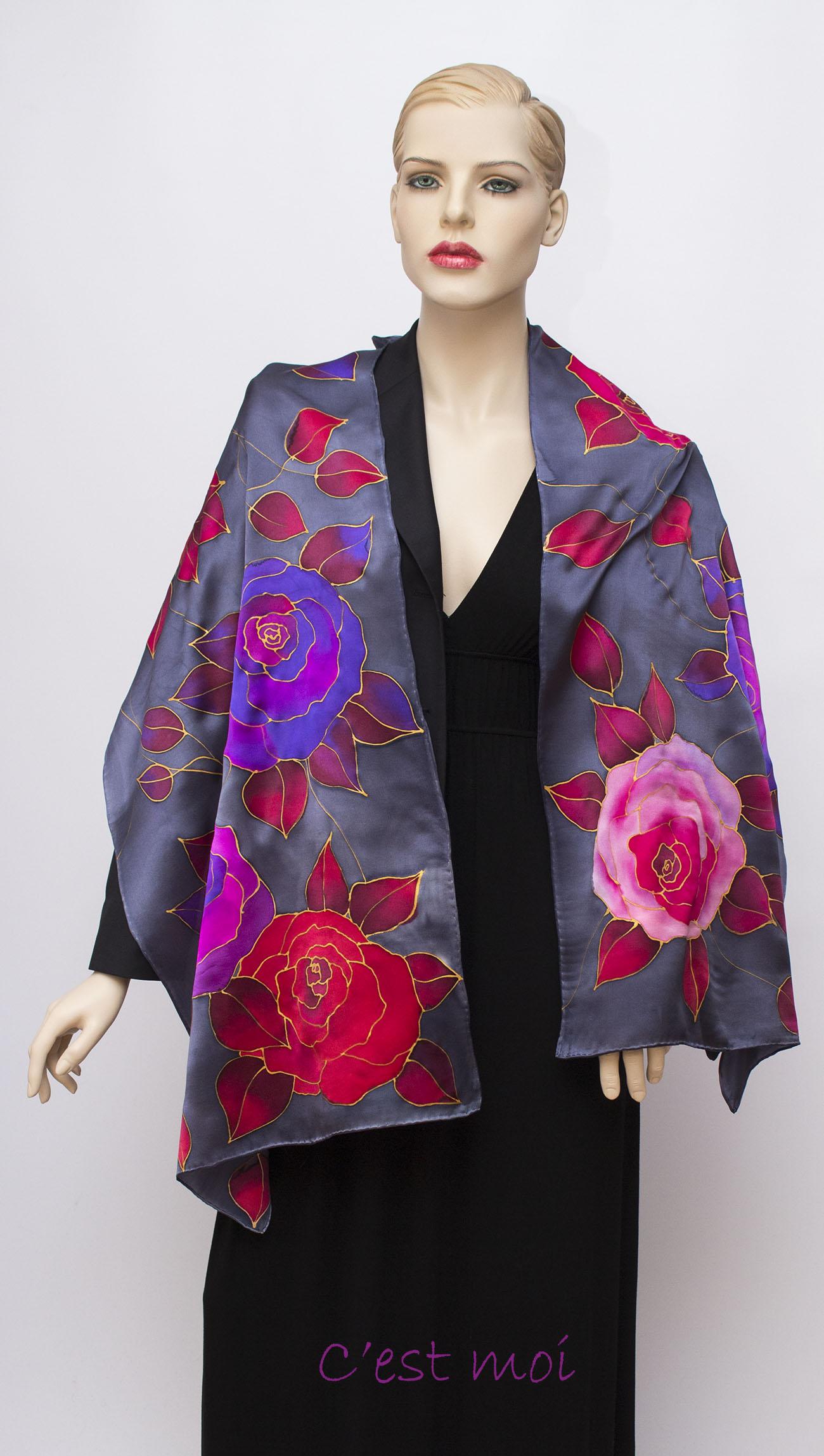 rózsák selyem szatén sál 01