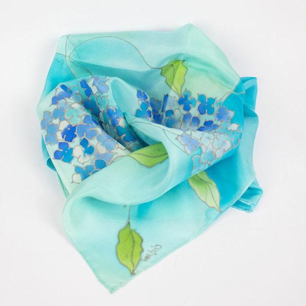 selyem sál kicsi kék hortenziákkal 01