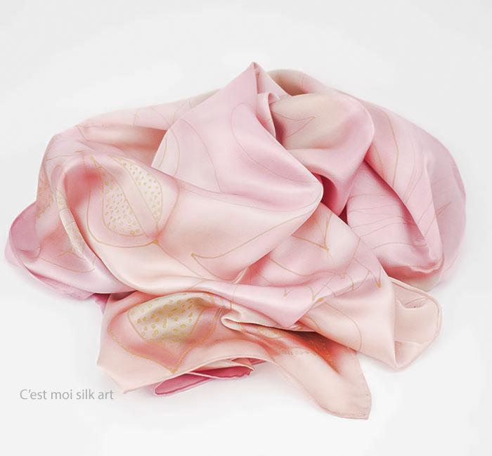 selyem sál szatén rózsaszín 01