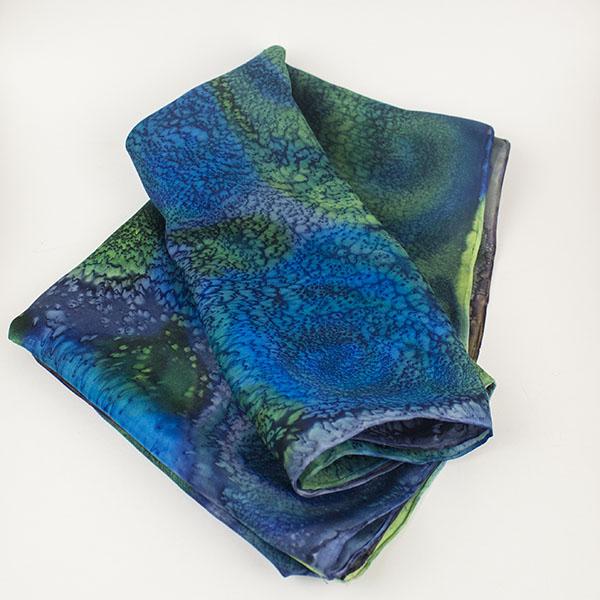selyem sál modern kék 09