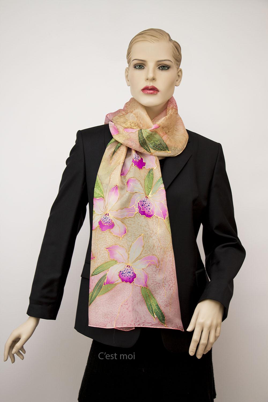 selyem sál pasztell orchideák 01