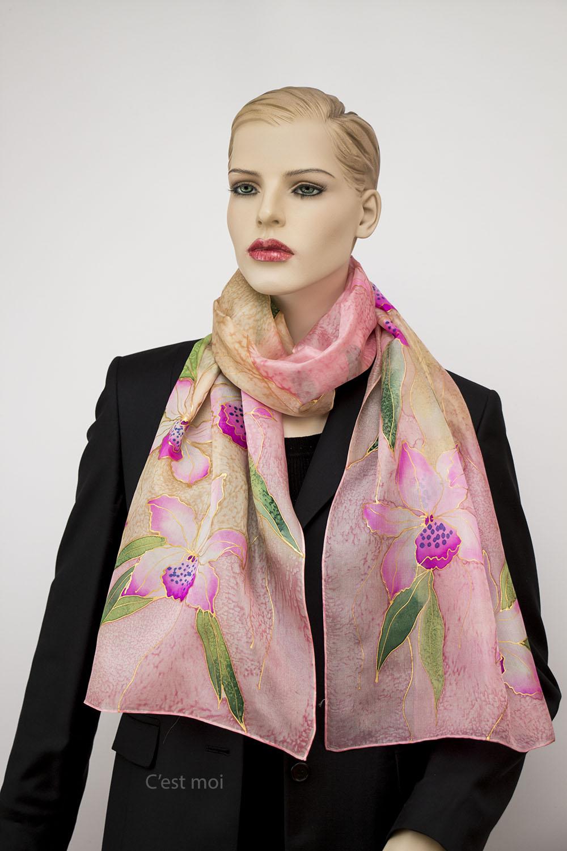 selyem sál pasztell orchideák 02