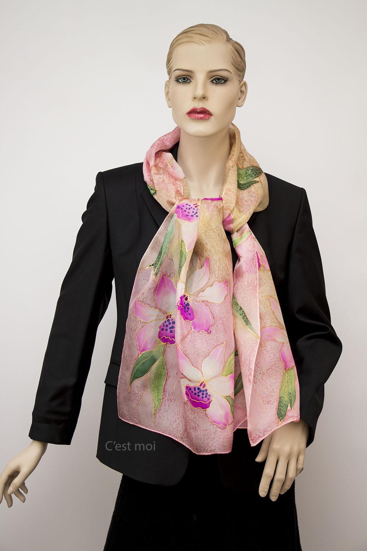 selyem sál pasztell orchideák 03
