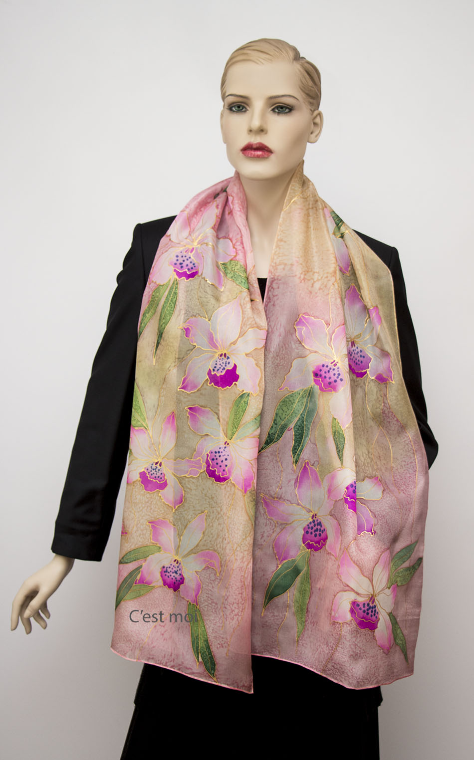 selyem sál pasztell orchideák 04